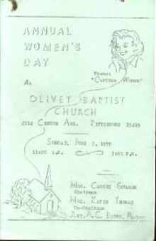 Olivet Baptist Pgh, Annual Womens Day 1970