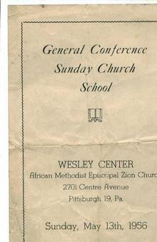 Sunday Church School, Wesley Ctr., PGH, 1956
