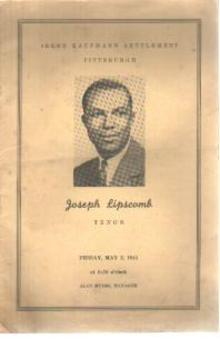Joseph Lipscomb Tenor 1941 1st Concert Progm