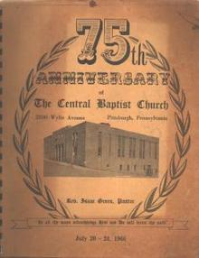 75th Anniv Central Baptist Pgh 1966 Book