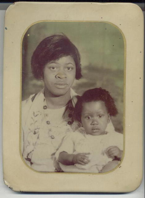 Black Mother w/Child Celluloid Photo c.1920