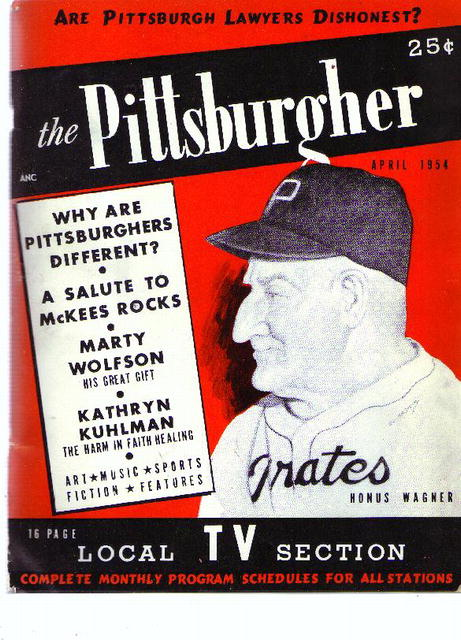 The Pittsburgher, Honus Wagner cover, 1954