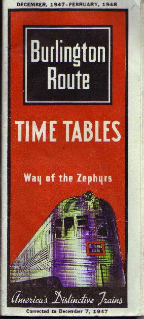 Burlington Time Tables, 1947