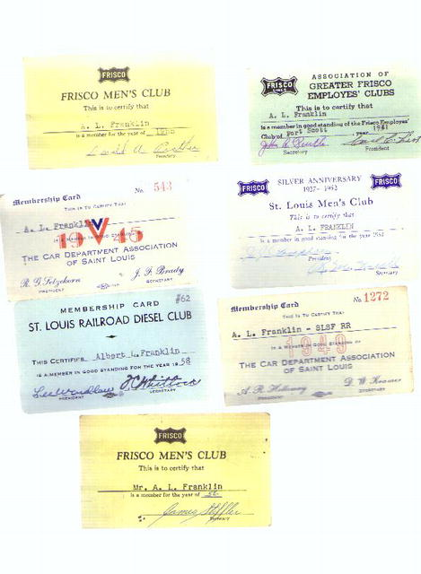 Assorted RR employees membership cards, 50s
