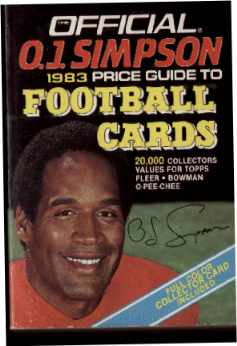 O J Simpson 1983 guide Football Cards