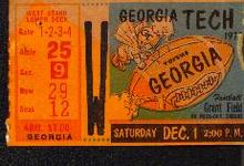 1970s Georgia Tech v. Georgia ticket