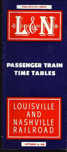 L&N RR, 1959-60 passenger time tables