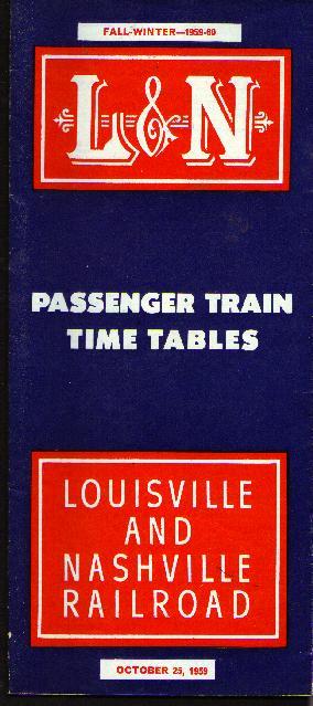 L&N RR, 1959-60 passenger time tables