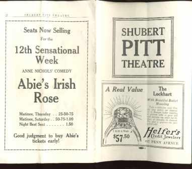 Abie's Irish Rose 1923 program great ads