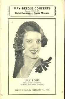 Metro Opera Lily Pons Prima Donna Soprano