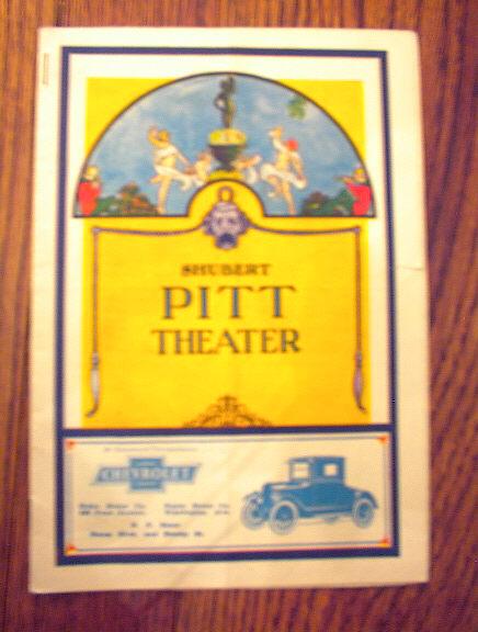 SHUBERT PITT THEATER 1924 PAMPHLET
