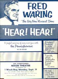 Fred Waring in Hear! Hear! handbill apx 1950