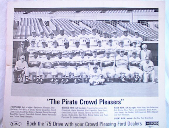 B/W FORD PHOTO OF THE 1970'S PIRATES