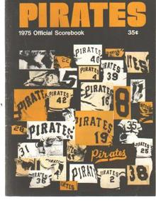 Pgh Pirates Scorebook 1975 Jersey #'s cover