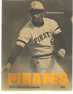 Pgh Pirates Scorebook 1975 Sanguillen cover