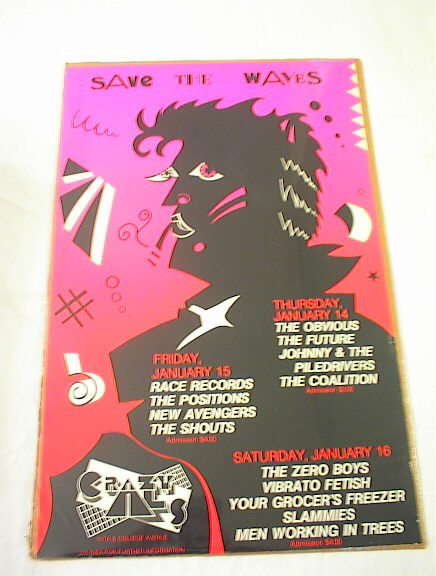 Ca 1980's SAVE THE WAVES CONCERT POSTER