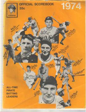 Pgh Pirates vs SanFran 1974 scorebook Champs