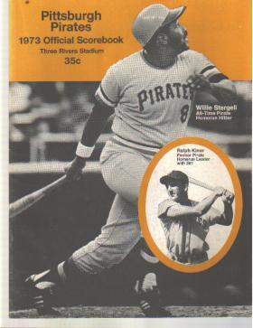 Pirates v StL 1973 scorebk Willie Stargell