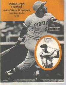 Pirates v Cubs 1973 scorebk Willie Stargell
