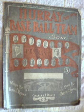 Sheet Music Hurray for Our Baseball Team 1909