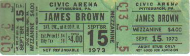 Unused James Brown Concert Ticket 1973