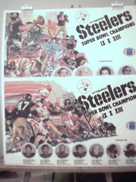 4 Pgh Steelers 1979 art & photo placemats EX