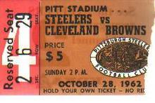 Pgh Steelers v Cleveland Browns ticket 1962