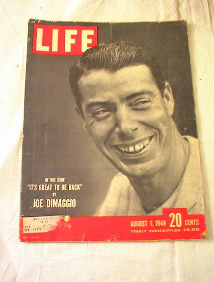 AUGUST 1,1949 LIFE MAGAZINE JOE DIMAGGIO