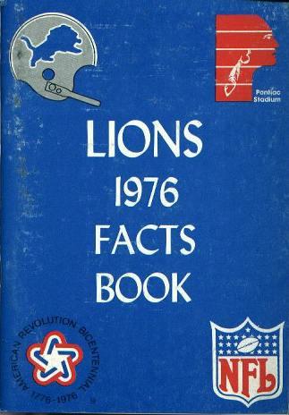Media Guide, DETROIT LIONS, 1976