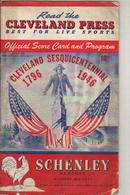 Cleveland Sesquicentennial Score Card 1946