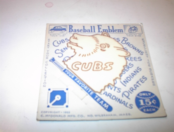 1952 Cubs Baseball Emblem For Car & Bike