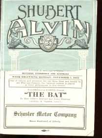 The Bat program Shubert Alvin 11/7/1920 Pgh