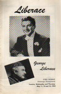Liberace 1954 Program Pittsburgh, w George