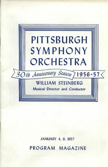 Program, PGH Symphony Orchestra, 1/4,5/57