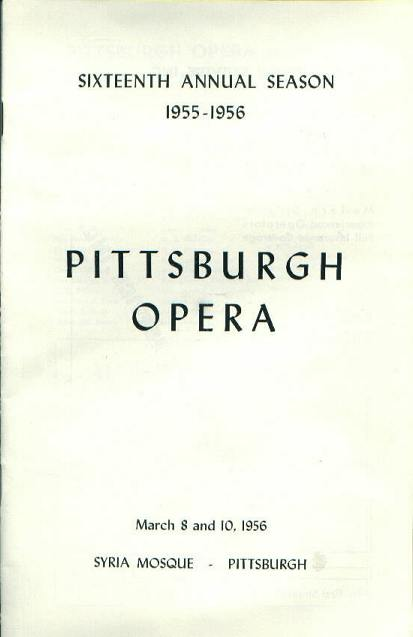 Program, Pittsburgh Opera, 3/8,10/56