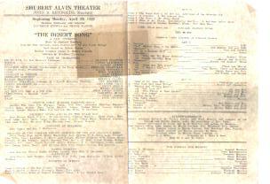 The Desert Song live production program 1929