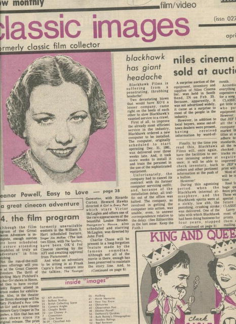 Classic Images-Vintage Film Cinema #82, 4/82