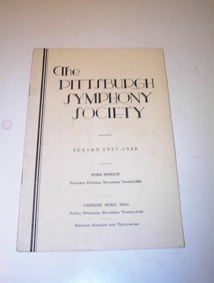 Pittsburgh Symphony Society Season 1937-38