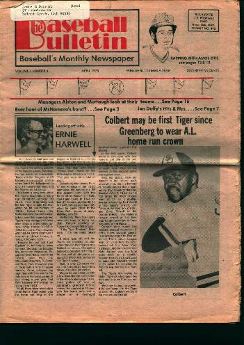 Baseball Bulletin- April 1975