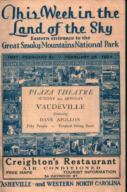 Great Smokey Mts. Park Guide- Vaudeville Show