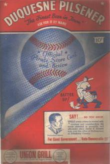 Pirates vs Phillies 1946 program with Coke ad