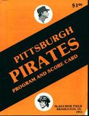 Pittsburgh Pirates Program and Scorcard 83'