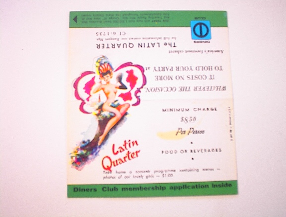 c1950 Latin Quarter Diners Membership Applica
