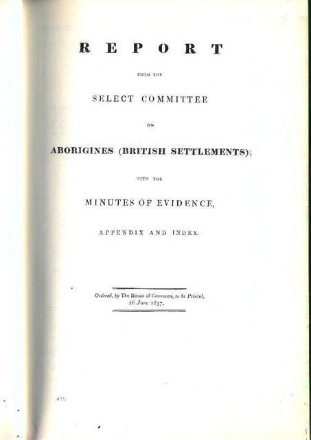Report on British Settlement Aborigines