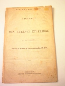 Speech of Hon.Emerson Etheridge,1/23/1861