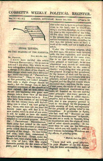 Corbett's Weekly Politcal Register 1832