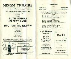 Nixon Theatre-10/13/58-Two For Seesaw