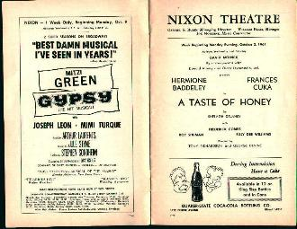 Nixon Theatre-10/2/61- A Taste of Honey!