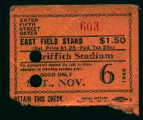 Ticket Stub from Clark Giffith Stadium!