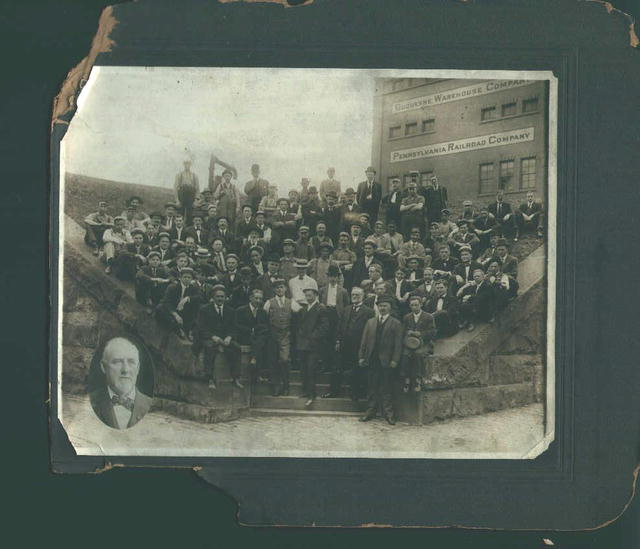 Photo of Men in Front of Building 24 P.R.R.